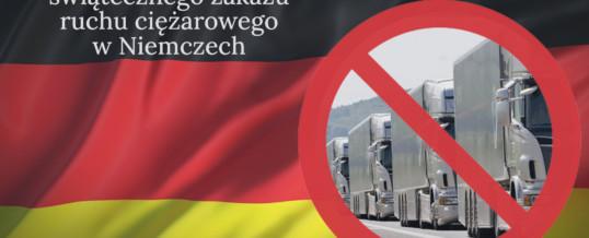 Zniesiony zakaz ruchu ciężarowego na okres świąteczny- Niemcy.